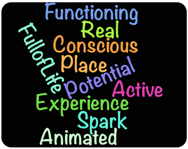 Animated; Active; Functioning; Full-of-Life; Spark; Real; Conscious; Experience; Place; Potential.